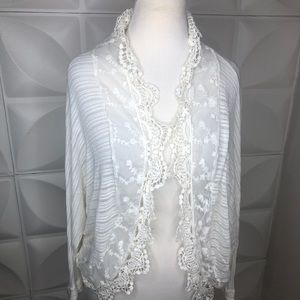 Alya Small Ivory Lace Trimmed Sweater Small